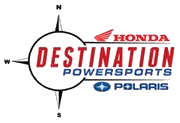 Red and Blue Destination Powersports logo with Honda and Polaris logos around.